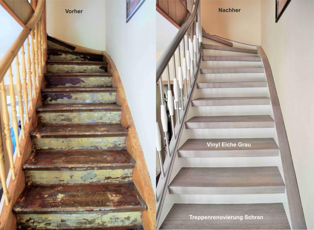 treppenrenovierung und treppensanierung mit vinylstufen. Black Bedroom Furniture Sets. Home Design Ideas