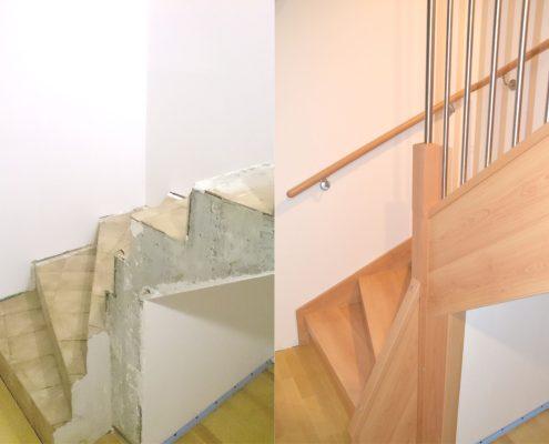 Treppenrenovierung in Altshausen, vorher, nachher